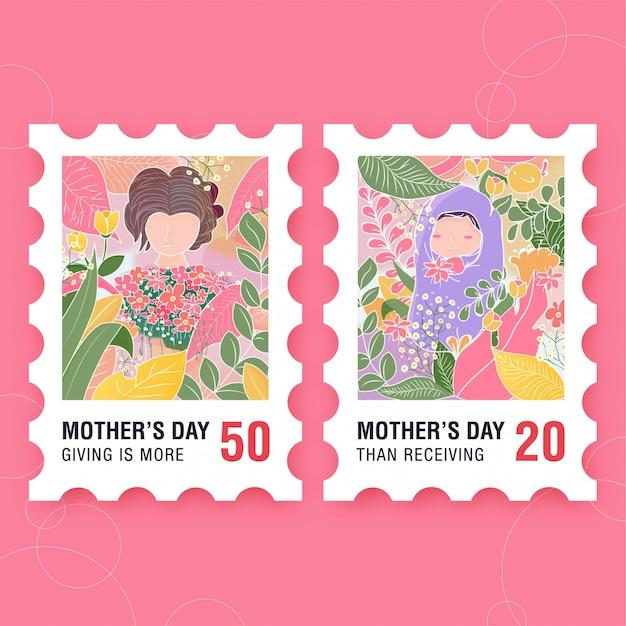 Timbre de la fête des mères avec bébé à la forêt carte postale sur le thème Vecteur Premium