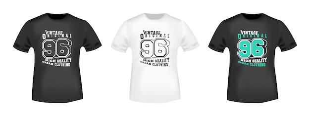Timbre imprimé t-shirt vintage 96 Vecteur Premium
