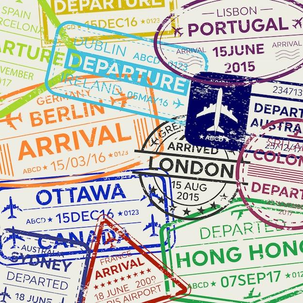 Timbre de passeport de visa de voyage d'affaires international. Vecteur Premium