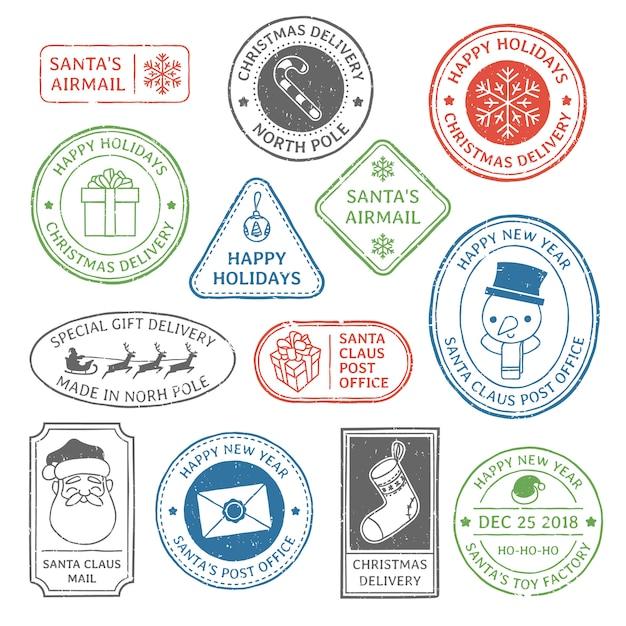 Timbre Postal Du Père Noël Vecteur Premium
