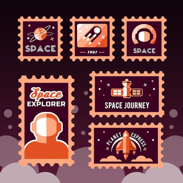Timbre postal avec fusée dans l'espace et timbre grunge Vecteur gratuit
