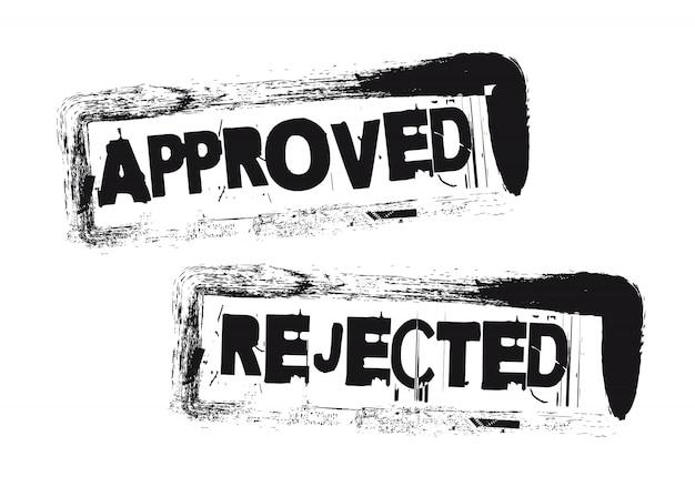 Timbres approuvés et refusés Vecteur Premium