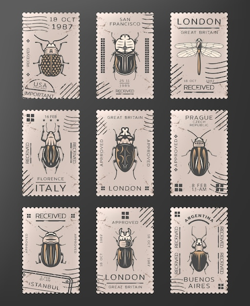 Timbres D'insectes Colorés Vintage Sertis De Libellule Différents Types D'insectes Et De Coléoptères Isolés Vecteur gratuit