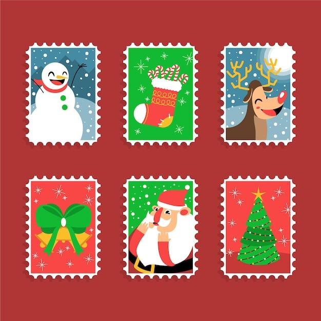 Timbres Joyeux De Noël Avec Symboles De Vacances Vecteur gratuit