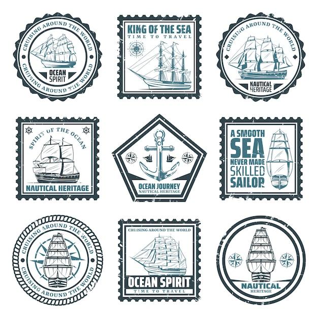 Timbres De Navires Et De Navires Vintage Sertis D'inscriptions Boussole De Navigation Et Ancre Isolées Vecteur gratuit