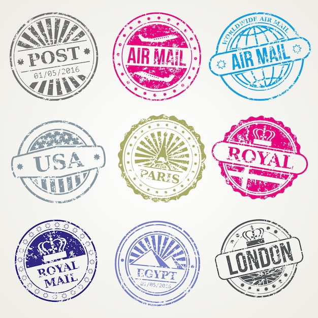 Timbres postaux rétro poste set vector air office de poste Vecteur Premium