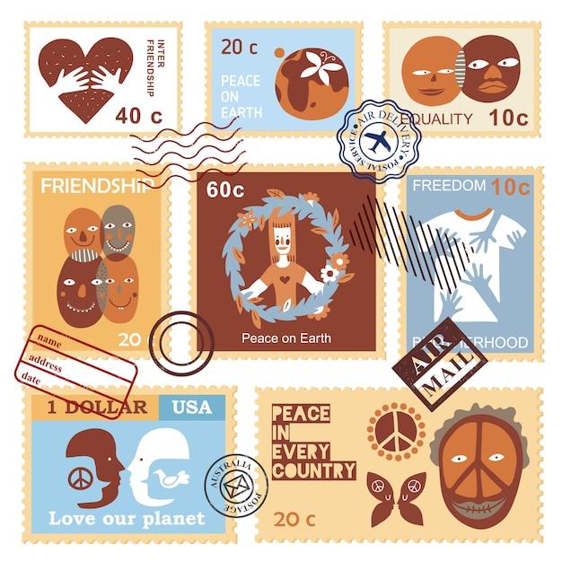 Timbres De Symboles De L'amitié Internationale Vecteur gratuit