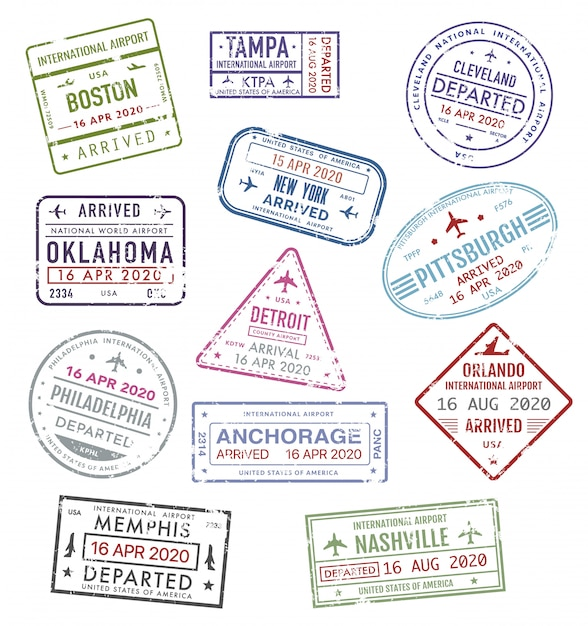 Timbres Des Usa, Visa De Voyage Passeport Aéroport Américain Vecteur Premium