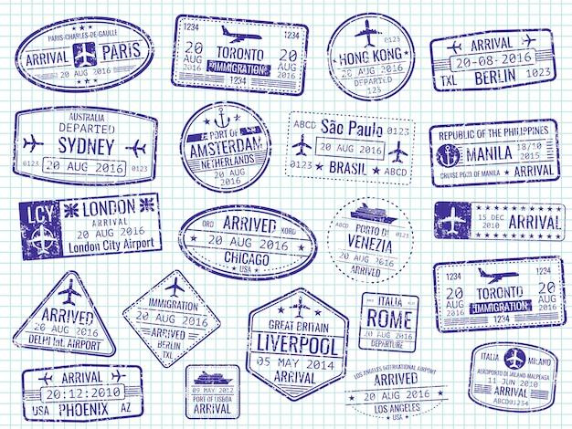 Timbres de visa internationaux sur la page de cahier Vecteur Premium