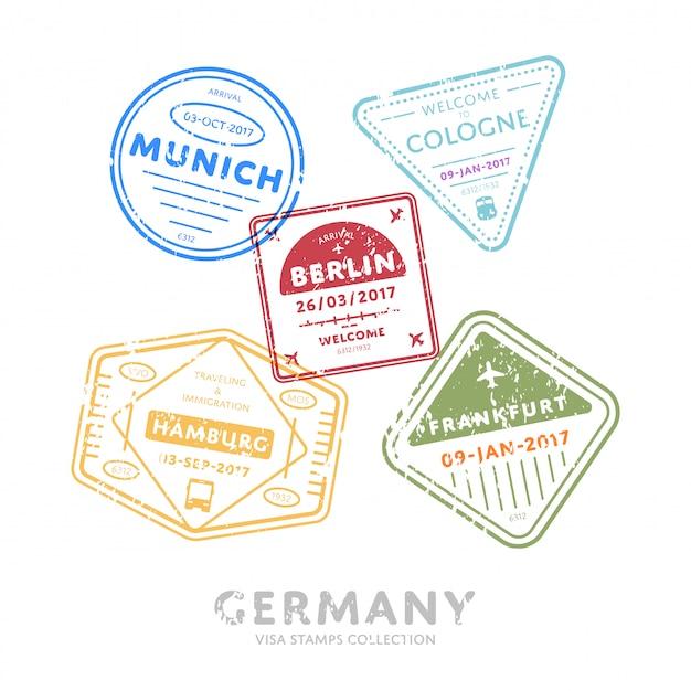 Timbres De Visa De Voyage International. Vecteur Premium