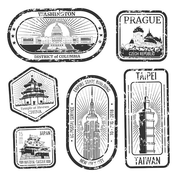 Timbres De Voyage Vintage Noir Et Blanc Avec Jeu De Monuments Et Monuments Majeurs Vecteur Premium