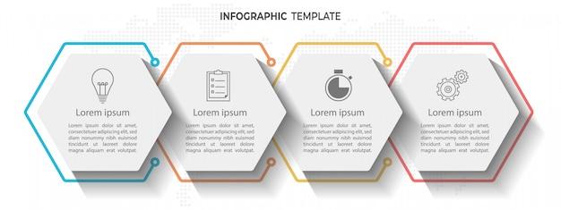 Timeline infographic 4 options d'hexagone. Vecteur Premium