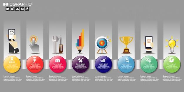 Timeline infographic graphique avec plusieurs couleurs Vecteur Premium