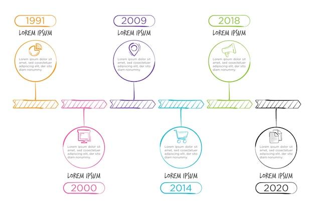 Timeline Infographique Dessiné à La Main Vecteur gratuit