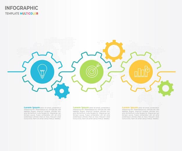 Timeline infographique avec options 3 vitesses Vecteur Premium