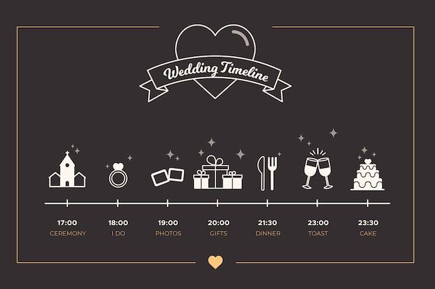 Timeline sophistiqué pour mariage avec style linéaire Vecteur gratuit