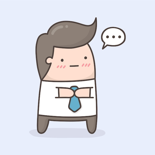Timide personnage de dessin animé mignon. Vecteur Premium