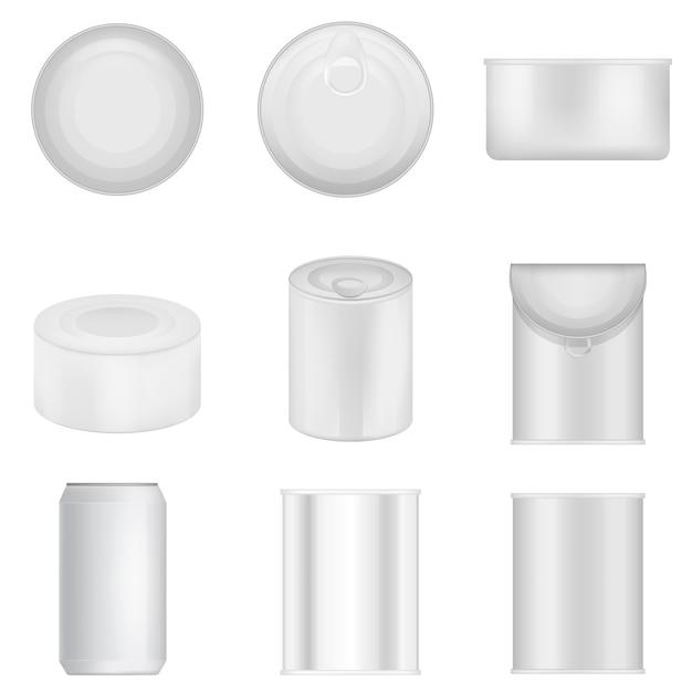 Tin can jalopy épicerie alimentaire ensemble de maquette. illustration réaliste de 9 emballages alimentaires en boîte de conserve pour le web Vecteur Premium