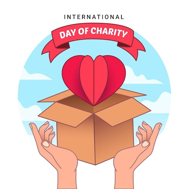 Tirage De La Journée Internationale De La Charité Vecteur gratuit