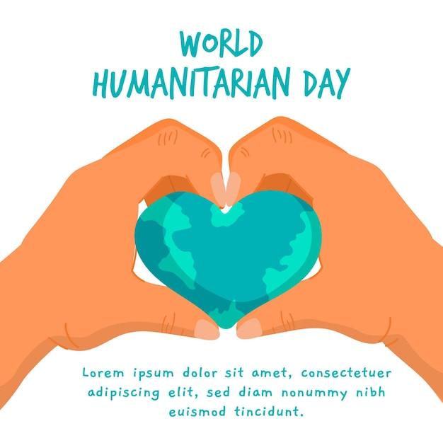 Tirage De La Journée Mondiale De L'aide Humanitaire Vecteur gratuit