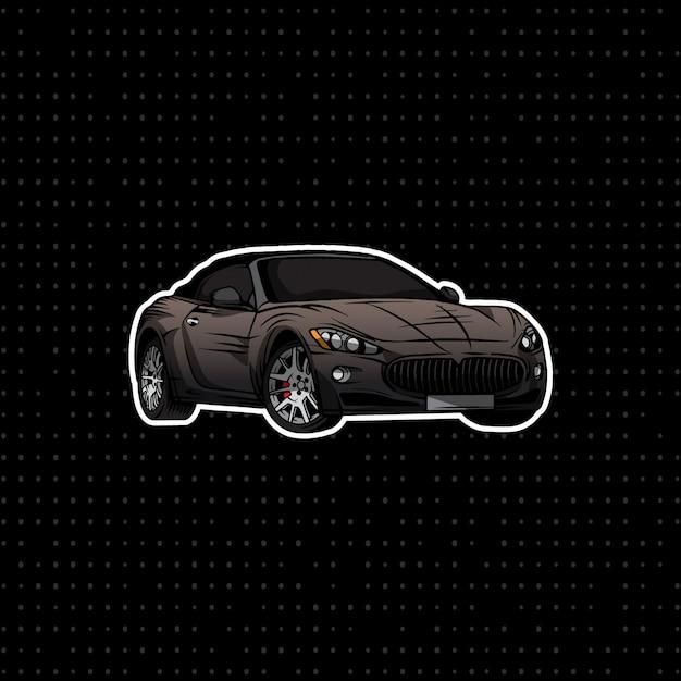 Tirage à La Main Du Coupé Convertible Noir Vecteur Premium