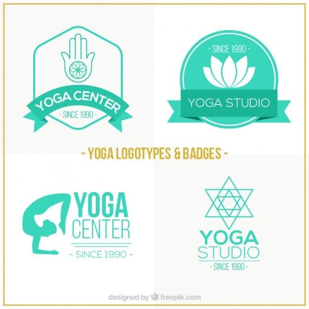 Tiré Par La Main Centre Yoga Vert Logos Vecteur gratuit