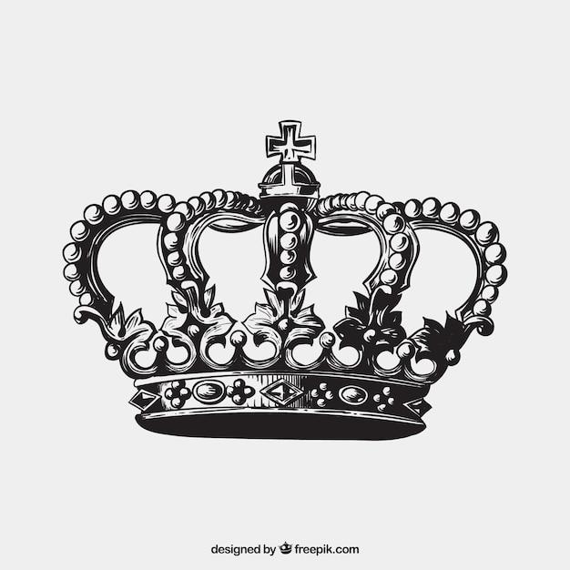 Tiré par la main couronne à l'antique Vecteur Premium