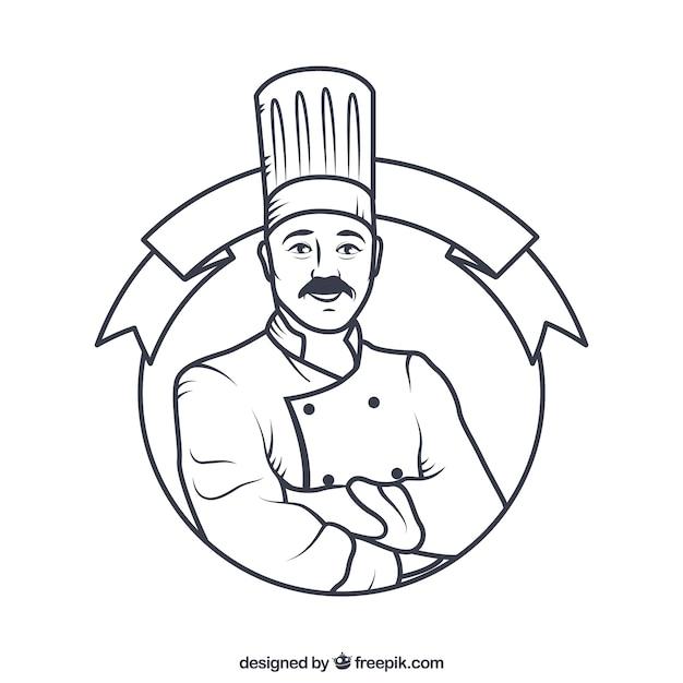 Tiré Par La Main Insigne Chef Vecteur gratuit