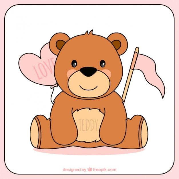 Tiré par la main ours en peluche pour le jour de la saint-valentin Vecteur gratuit
