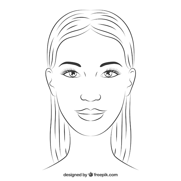 Tiré par la main visage de femme Vecteur gratuit
