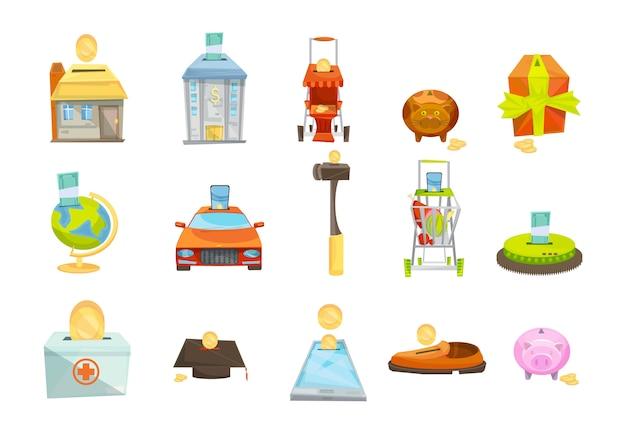 Tirelire isolé jeu d'icônes Vecteur gratuit