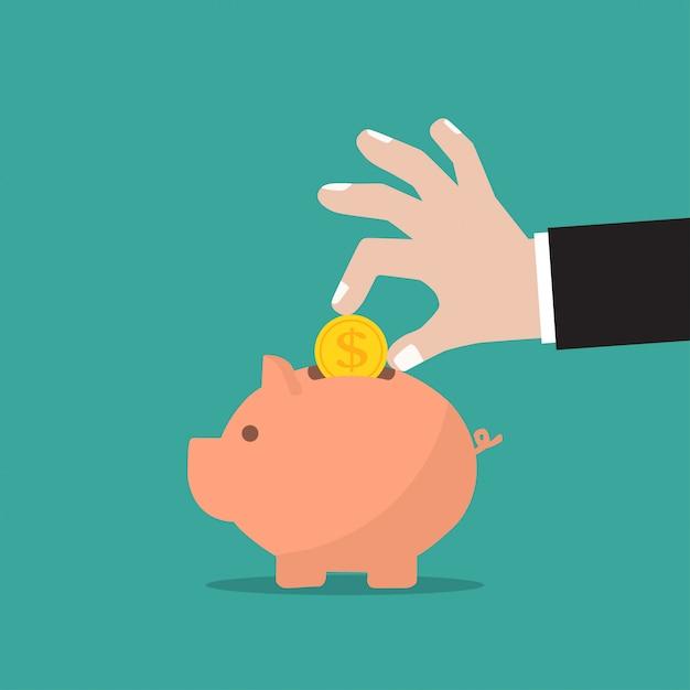 Tirelire et main d'homme d'affaires avec pièce de monnaie dans un design plat Vecteur Premium