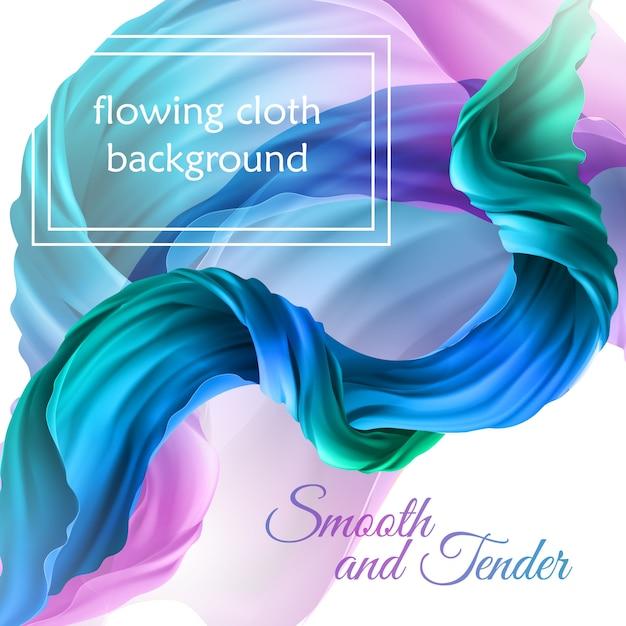 Tissu multicolore volant réaliste 3d. tissu satiné fluide, textures de velours décoratives abstraites Vecteur gratuit