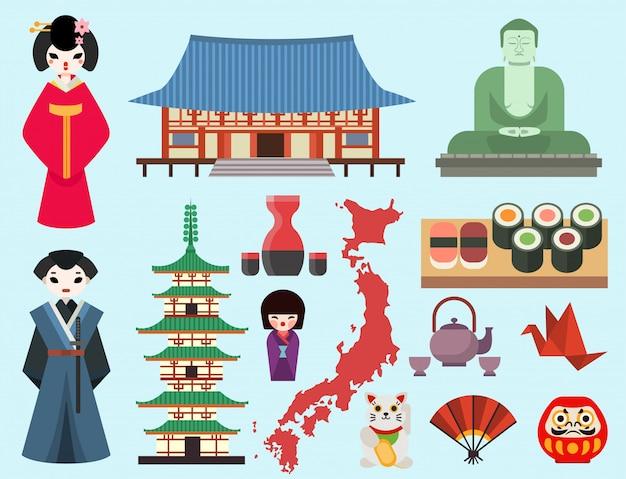 Tissus De Symboles Plats Du Japon Voyage Et Asie Design De Tissu En Tissu Art Traditionnel De L'architecture Orientale De Fuji. Vecteur Premium