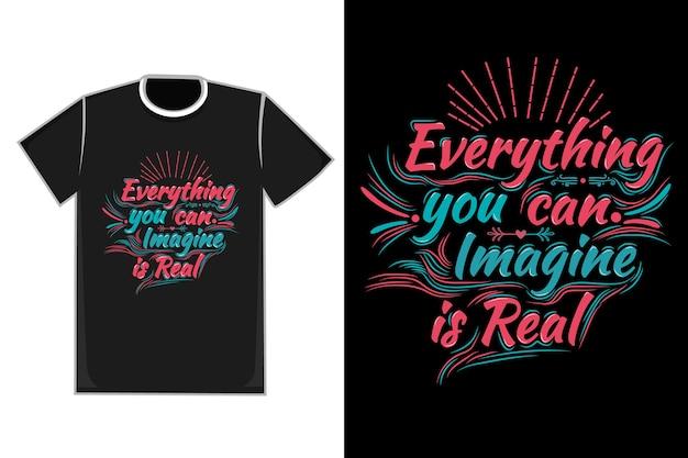 Titre Du T-shirt Tout Ce Que Vous Pouvez Imaginer Est De Couleur Réelle Bleu Et Rouge Vecteur Premium