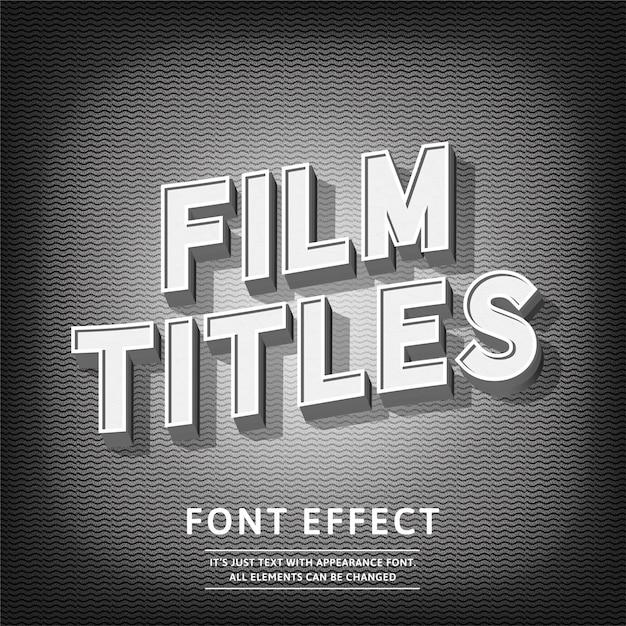 Titres de film 3d effet de texte de style vintage Vecteur Premium