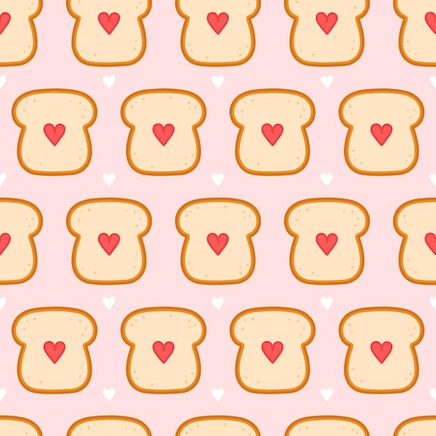 Toast De Pain Mignon Avec Motif Sans Soudure De Coeur. Vecteur Premium