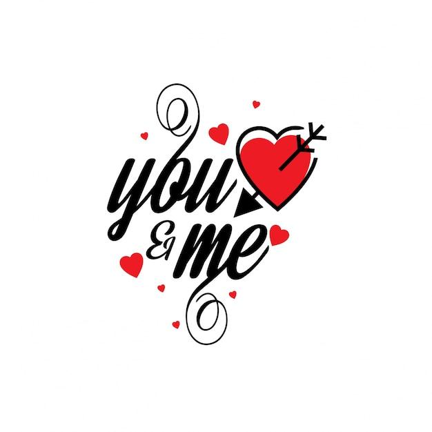 Toi Et Moi Avec Des Coeurs Rouges Stylés Vecteur gratuit