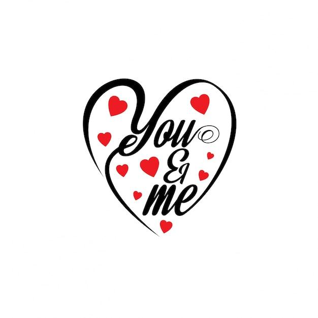 Toi Et Moi Avec Des Cœurs Stylés Vecteur gratuit