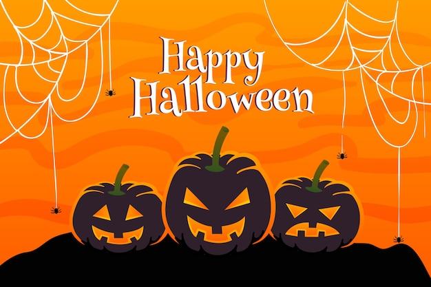 Toile d'araignée et citrouille fond plat halloween Vecteur gratuit