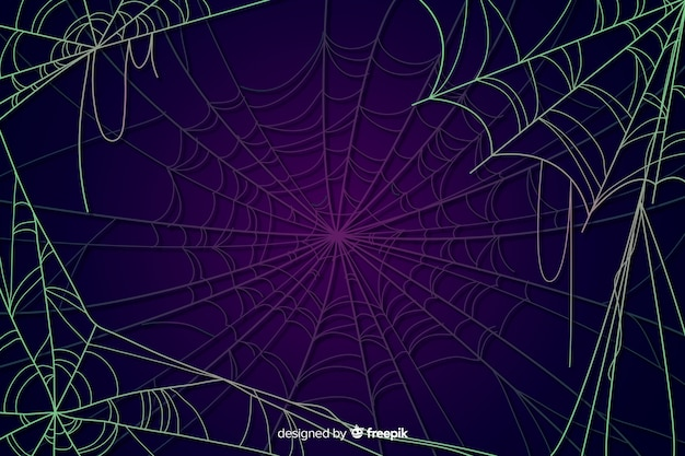 Toile d'araignée fond halloween Vecteur gratuit