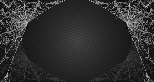 Toile D'araignée Sur Fond Transparent Noir. Premium. Vecteur Premium