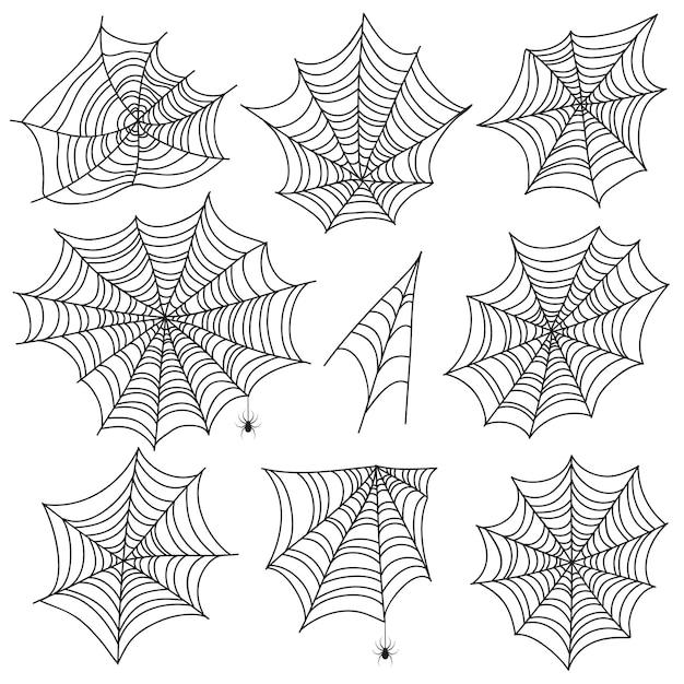 Toile D'araignée D'halloween. Silhouettes De Toile D'araignée Et D'araignée Noires. Graphiques Vectoriels Effrayants Web Isolés Sur Fond Blanc Vecteur Premium