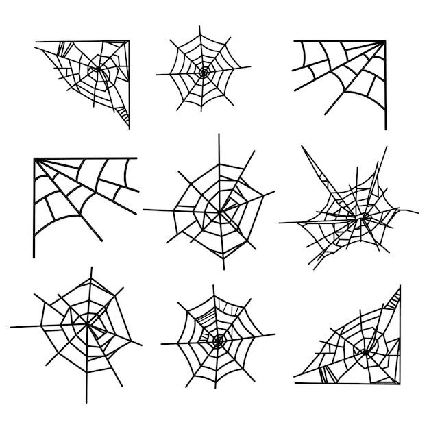 Toile d'araignée isolé Vecteur Premium