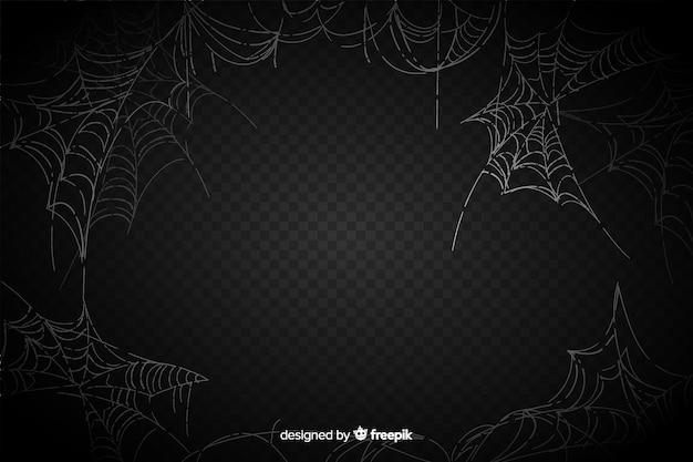 Toile d'araignée réaliste sur fond noir Vecteur gratuit