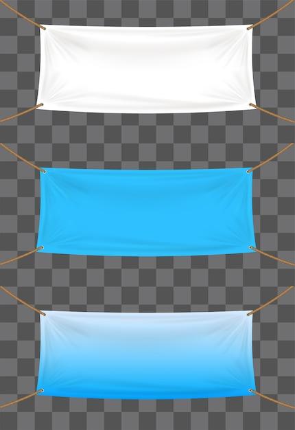 Toile de fond de bannières de vinyle sur fond transparent Vecteur Premium