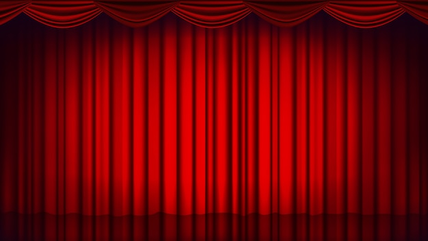 Toile de fond de rideau de théâtre rouge. théâtre, opéra ou cinéma. fond de scène vide en soie, scène rouge. illustration réaliste Vecteur Premium