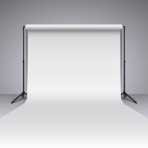 Toile de fond de studio photo blanc vide. fond de studio de photographe vecteur réaliste Vecteur Premium