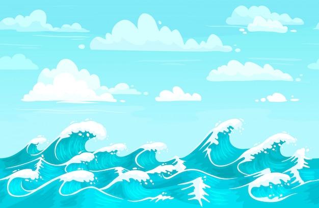 Toile De Fond Des Vagues De L'océan. L'eau De Mer, Les Vagues De Tempête Et L'aqua Sans Soudure Cartoon Background Vector Illustration Vecteur Premium