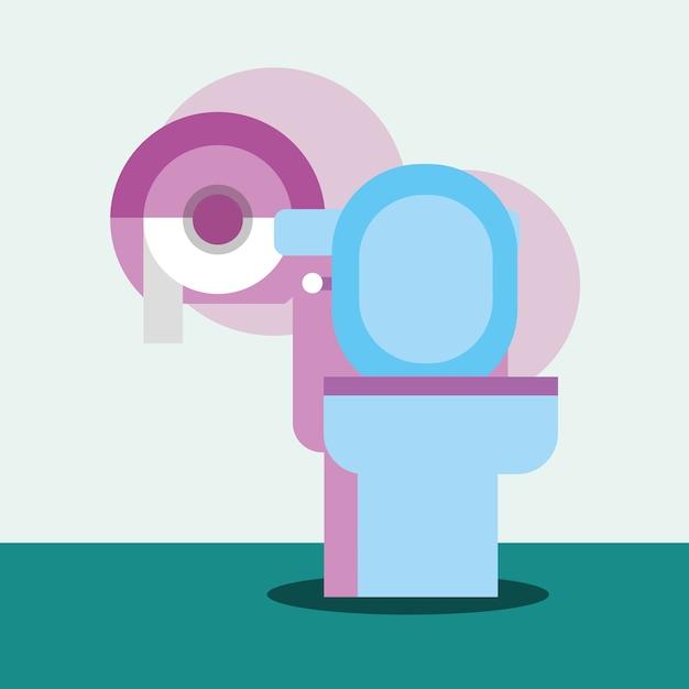 Toilettes et distributeur papier dessin animé salle de bain Vecteur Premium